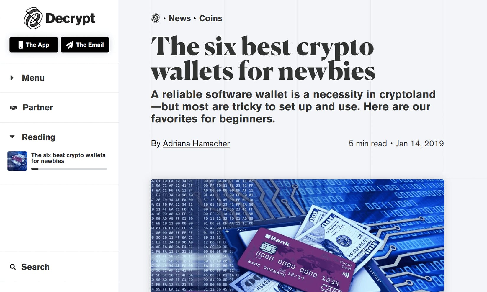 Decrypt puts Argent on their list of the best crypto wallets for newbies