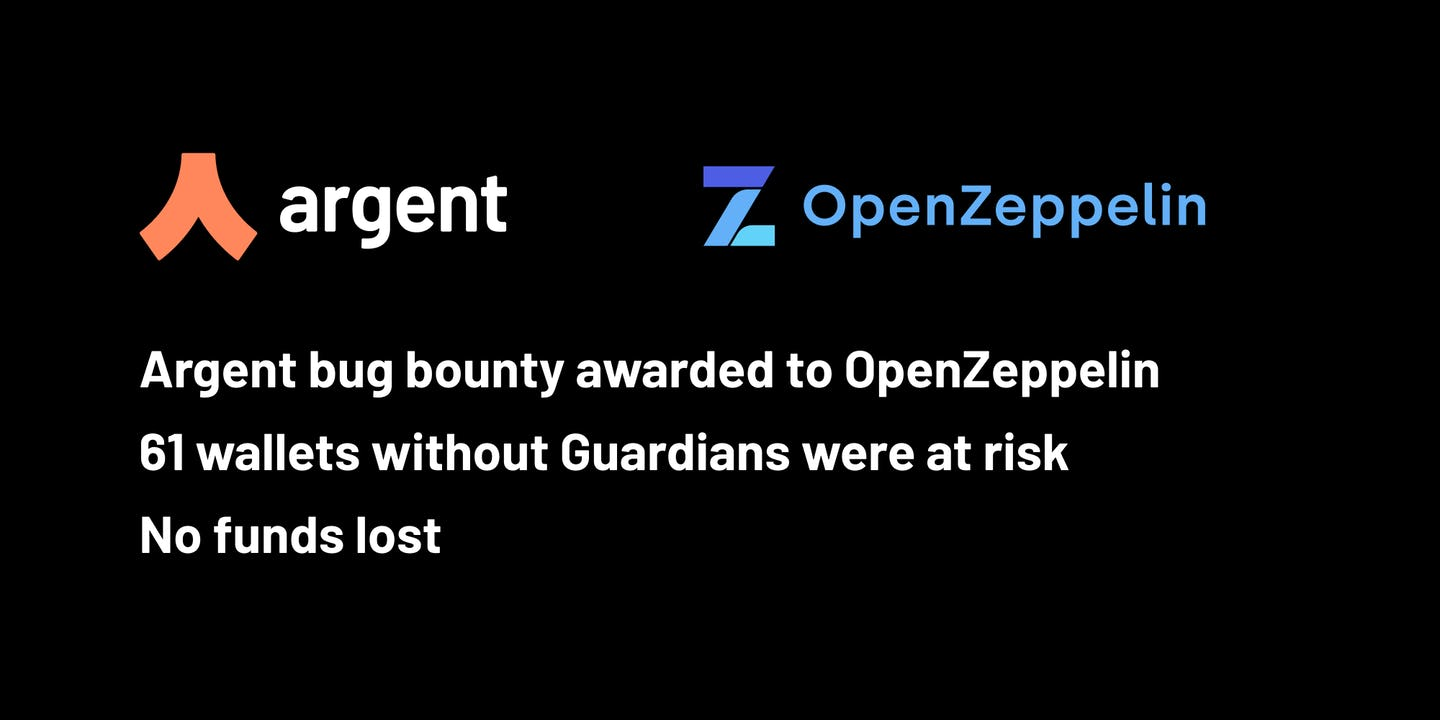 Argent has awarded its first bug bounty payout to OpenZeppelin