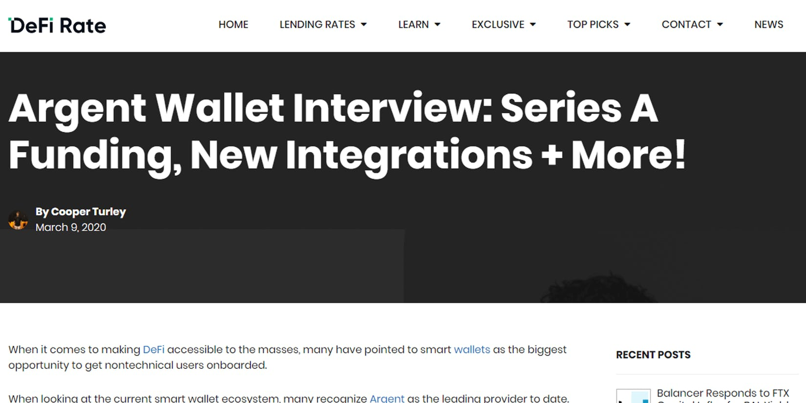 DeFi Rate: Argent Wallet Interview - Series A Funding, New Integrations + More!