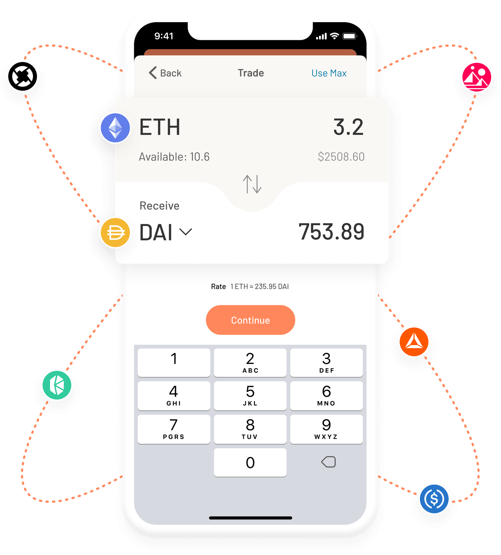 Argent Ethereum DeFi wallet – exchange trade screen
