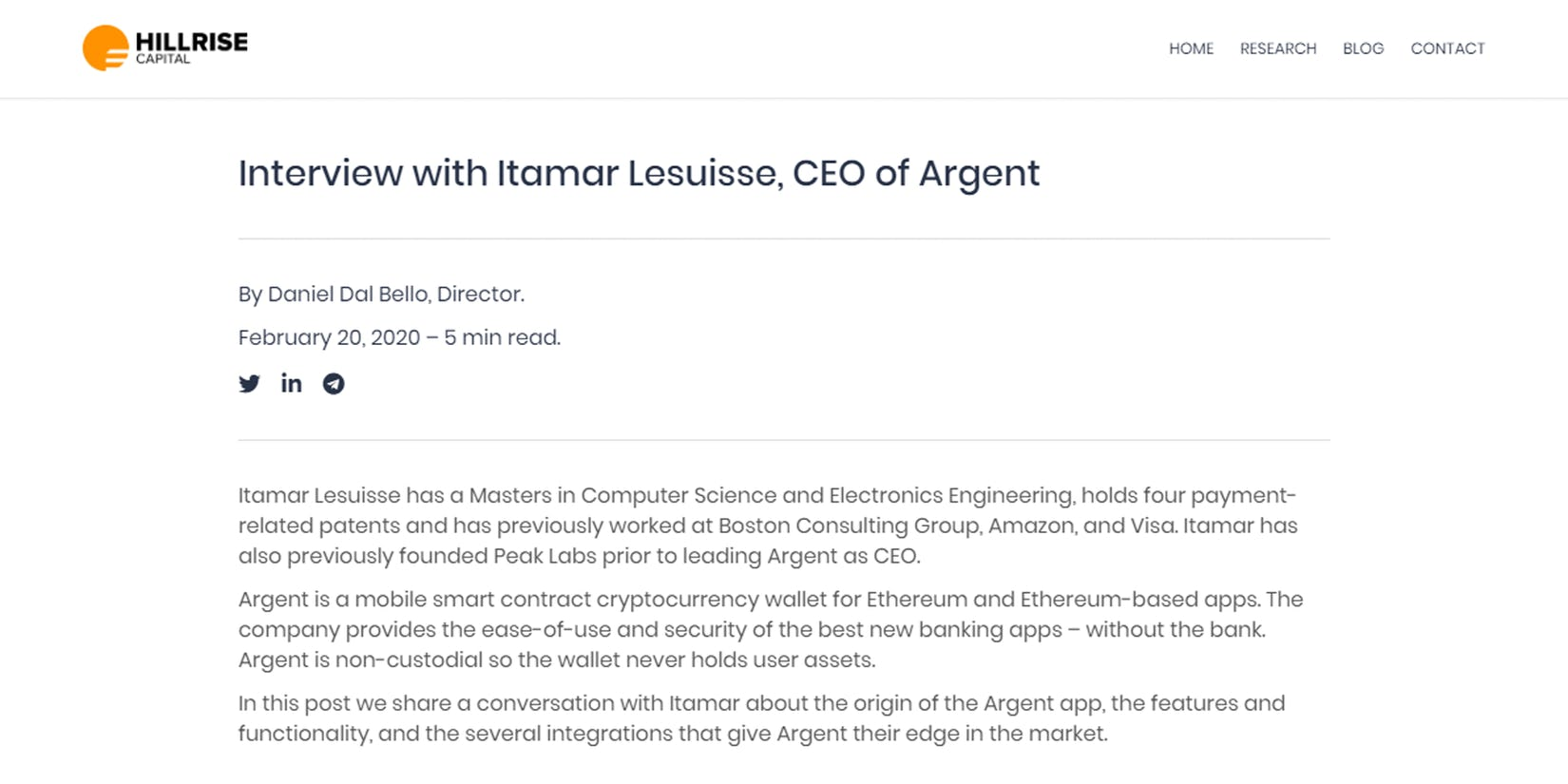Hillrise Capital's interview with Argent CEO Itamar Lesuisse