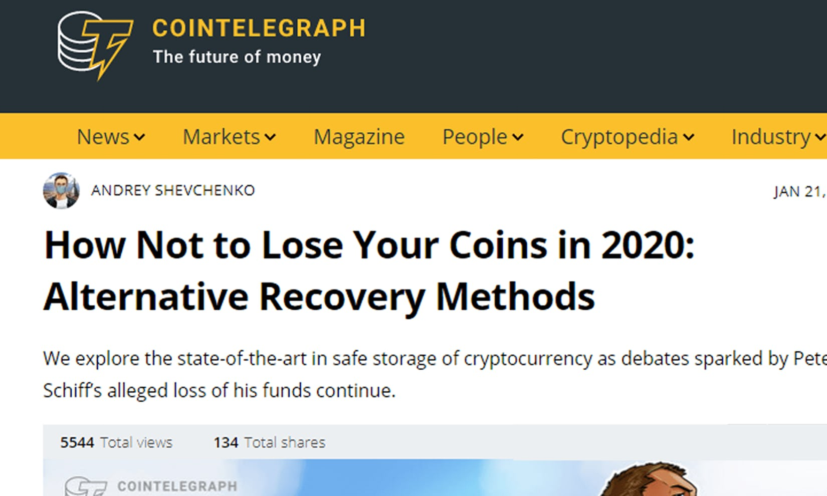 Cointelegraph on the Guardian recovery system in Argent