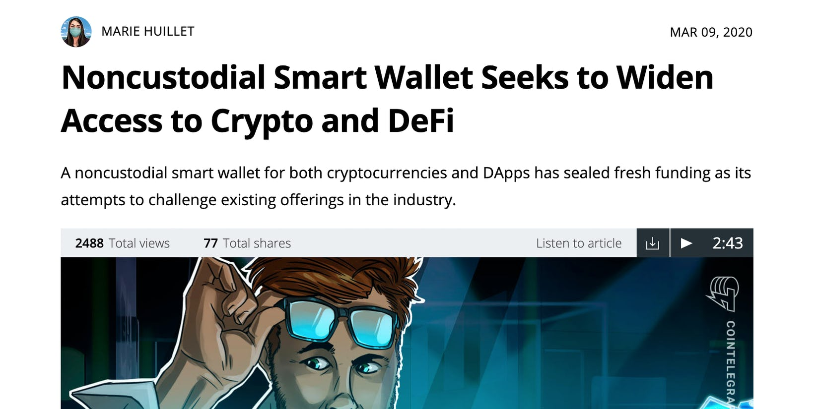 Cointelegraph covers how Argent is making DeFi and Ethereum more simple and safe