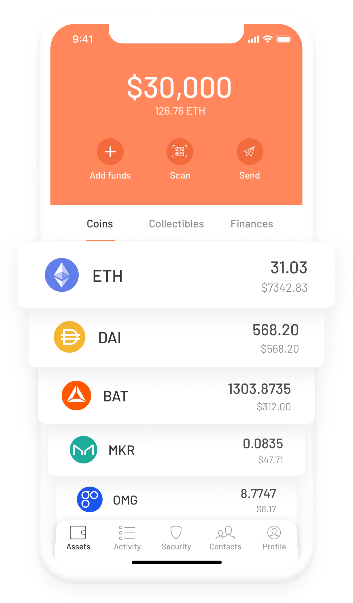 Argent Ethereum DeFi wallet –Assets and tokens screen