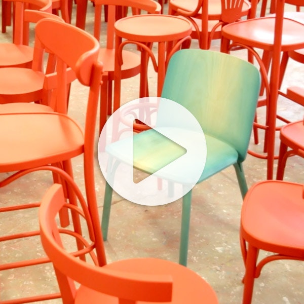 Split chair for Ton / making of