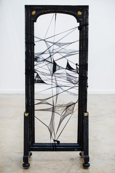 Enam Gbewonyo - In the wake of Barely Black, burnout used tights, cotton hand embroidery and eco-friendly acrylic paint on vintage Cheval mirror frame - photo credit Jennifer Moyes