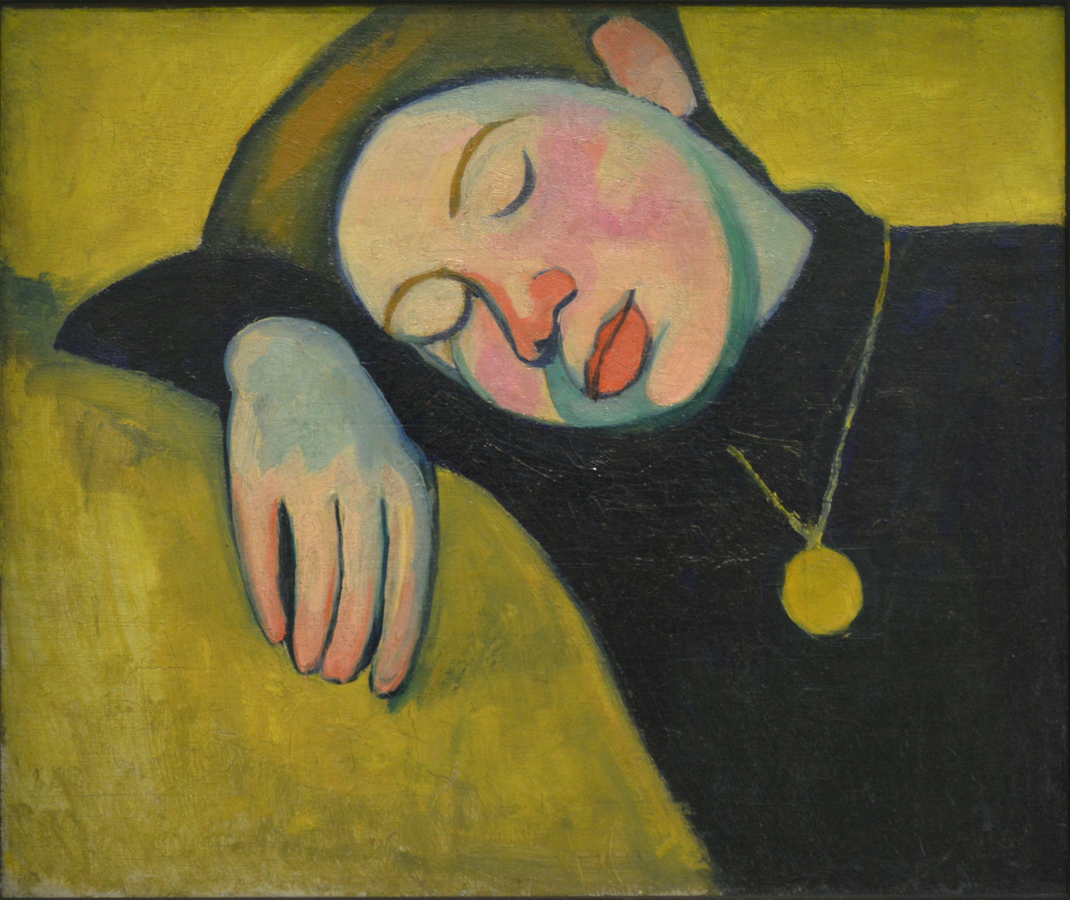 Sonia Delaunay - Jeune fille endormie - Huile sur toile 46/55cm - 1907