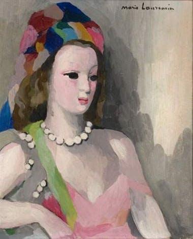 Marie Laurencin - Jeune fille au collier de perles et turban - 1938