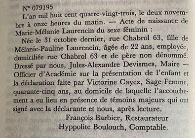 Passage du live Marie Laurencin par Flora Groult - Editions Mercure de France