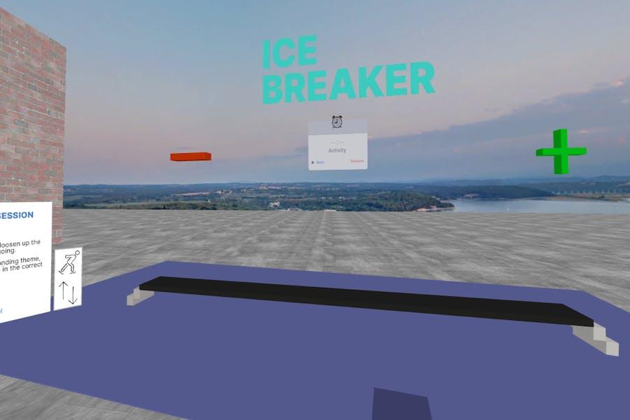 An ince-breaker scene in Arthur VR office