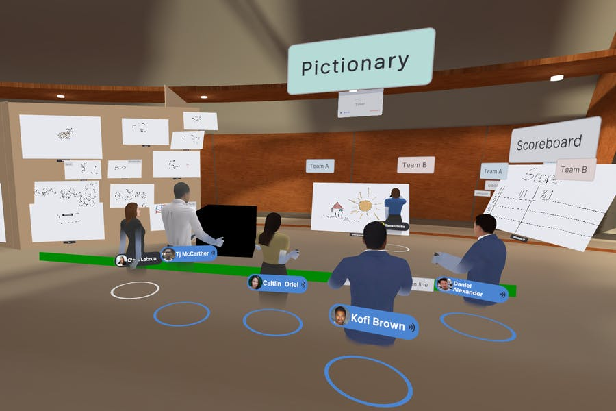 A remote team building session in VR featuring whiteboards, text labels, and 3D objects