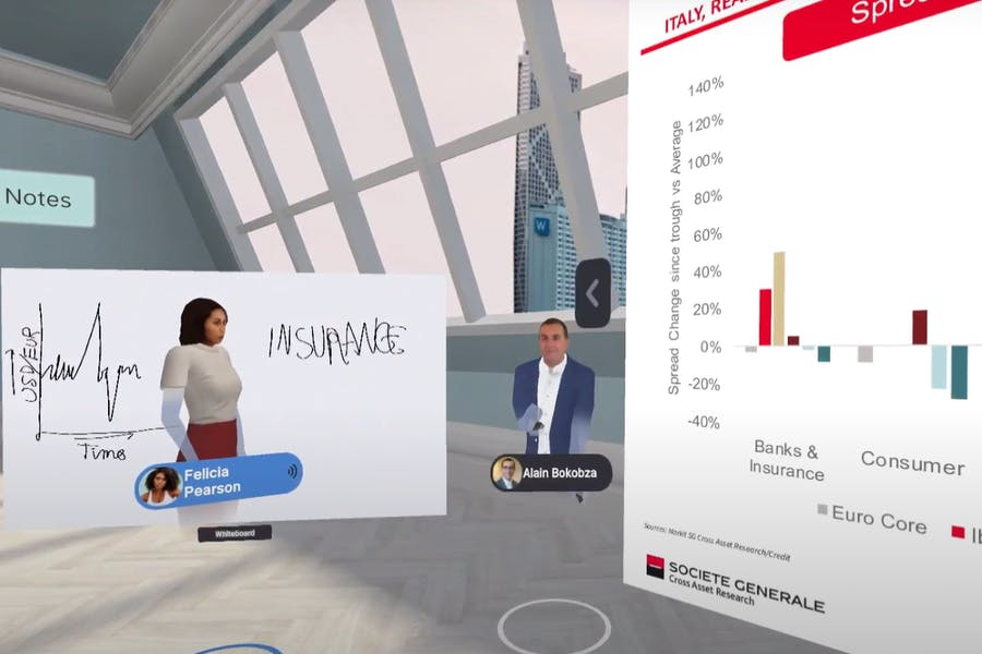 Avatars of a client and an analyst reviewing a presentation in Arthur VR meeting room