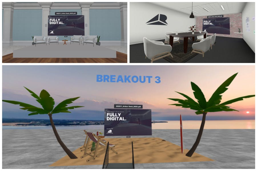 three different solutions for collaboration with Powerpoint presentations for remote board meetings and remote client meetings. Three virtual meeting spaces: boardroom, presentation stage and beach.