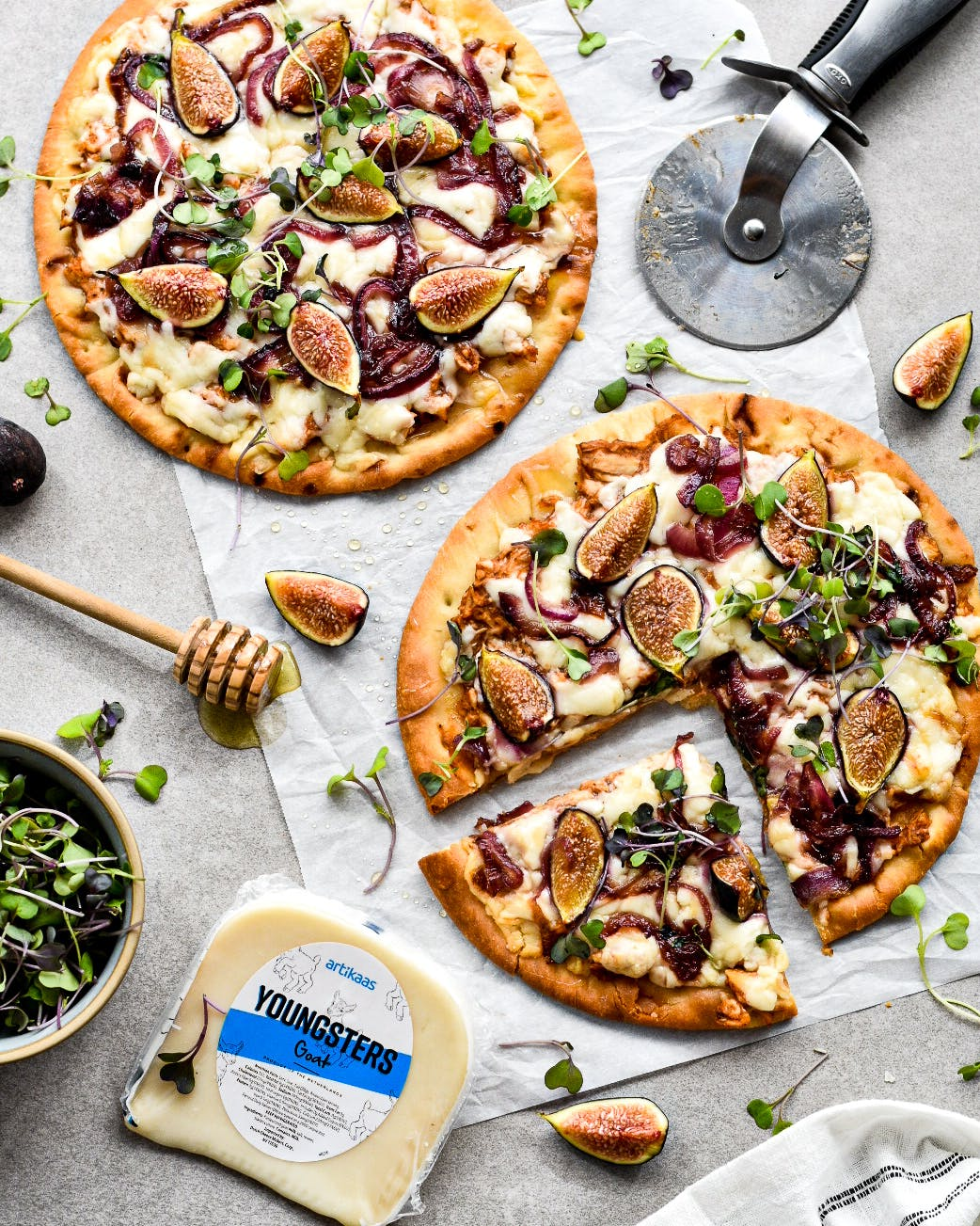 Barbecue Fig Chicken Pizza with Artikaas Goat Gouda