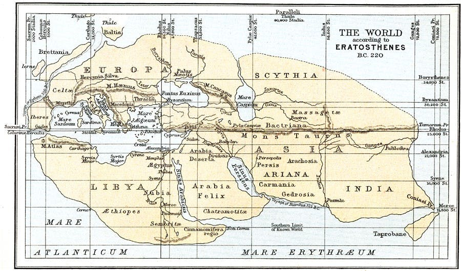 Figure 6. Erastothenes of Cyrene, World according to Erastothenes, 194 BCE (19th century reconstruction).