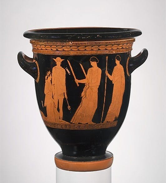 Figure 4. Attributed to the Persephone Painter, Terracotta bell-krater, c. 440 BCE, terracotta, 41 cm; diameter of mouth 45.4 cm, Metropolitan Museum of Art.