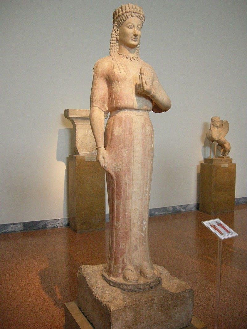 Aristion of Paros, Kore (Phrasikleia), c. 540 BCE, National Archaeological Museum, Athens.