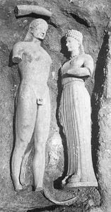 Figure 1. Aristion of Paros, Kouros and Kore (Phrasikleia), c. 540 BCE, National Archaeological Museum, Athens.