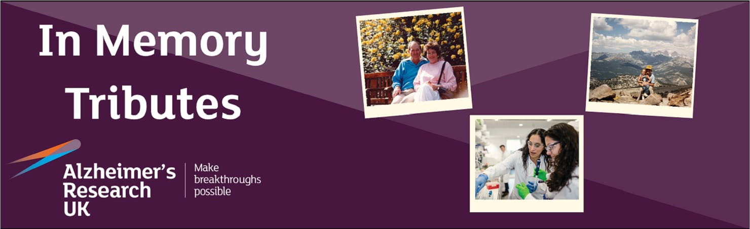 A banner with a purple background and three photos overlaid in the design of polaroids. One is of a man and woman sitting on a bench, one is of two scientists in white lab coats and the final one is of a woman sitting on top of a mountain. The words 'In Memory Tributes, Alzheimer's Research UK, Make Breakthroughs possible' sit to the left of the banner.