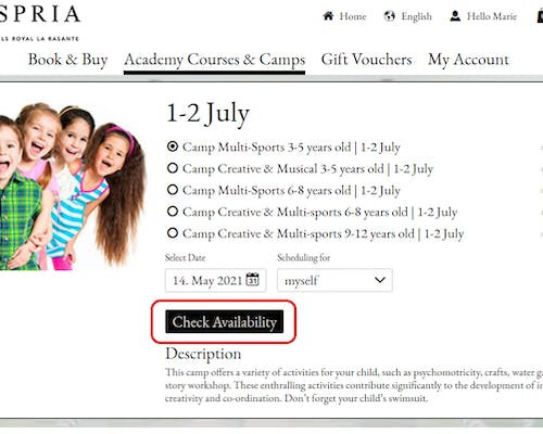 """4. Select your preferred camp option, and click """"Check availability"""""""