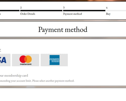 """8. Choose your preferred method of payment – either credit card, or credit on your membership card. Click """"Next"""" to confirm."""