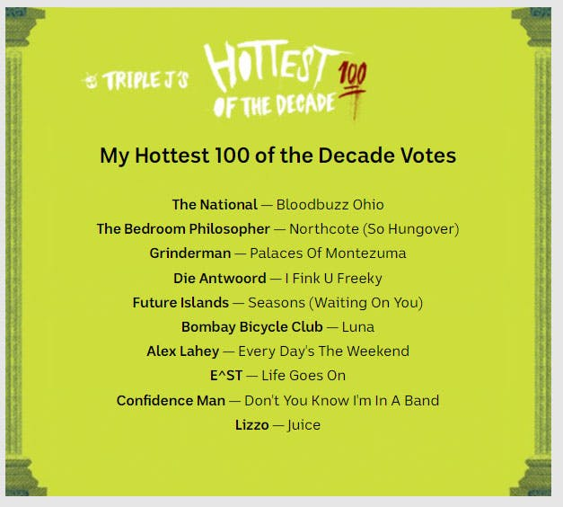 What does the Hottest 100 of the Decade say about music?