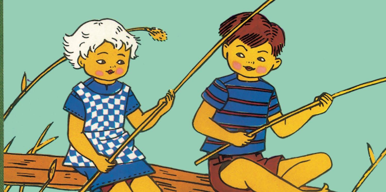Två barn som metar