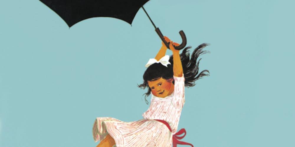 Madicken flyger med paraply