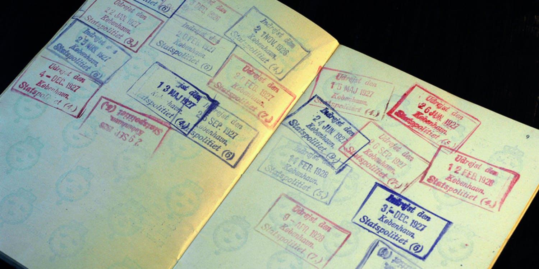 Stämplar i Astrids pass 1926-1927