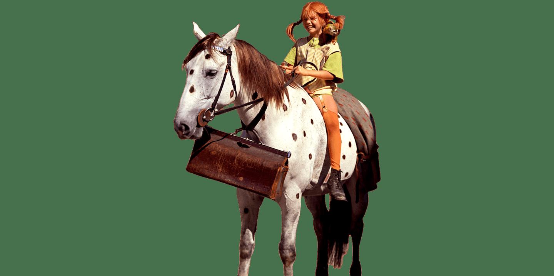Pippi rider på hästen