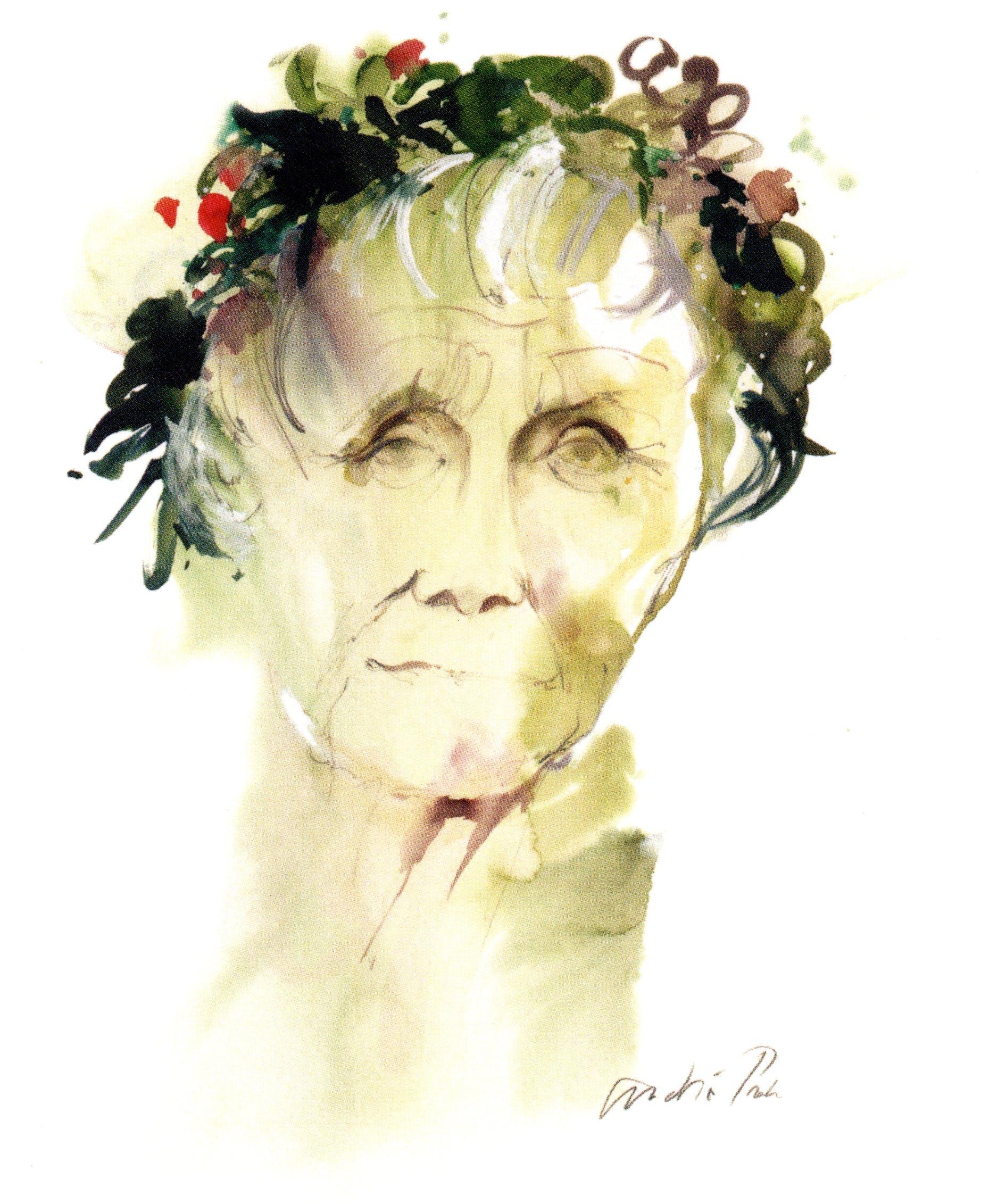 Astrid med blomsterkrans