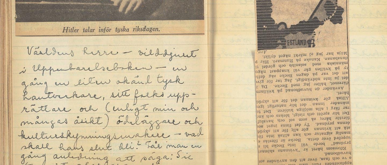 uppslagen anteckningsbok, krigsdagbok