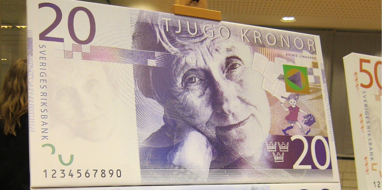 Astrid Lindgren avbildas på den nya tjugokronorsedeln
