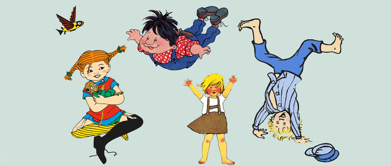Bild med Pippi, Karlsson, Lotta och Emil