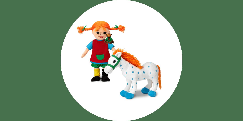 Gosedjur föreställandes Pippi, Herr Nilsson och Lilla Gubben