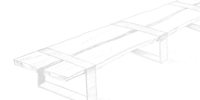 Sketch of a wooden and metal table