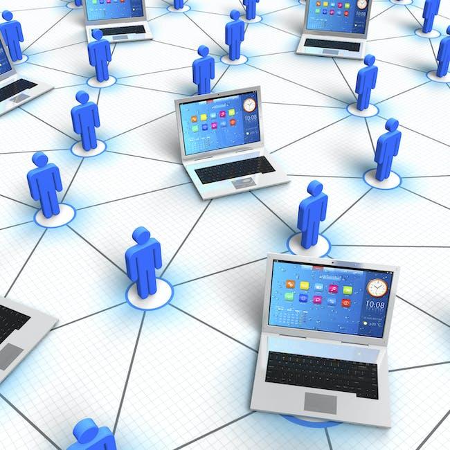 Sieci WAN, rozległa sieć komputerowa ukazana jako połączenie użytkowników i komputerów