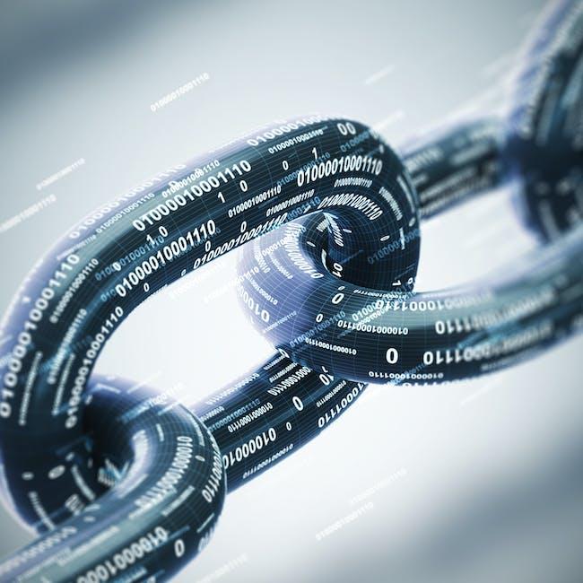 Łańcuch symbolizujący technologię blockchain, technologię łańcucha bloków