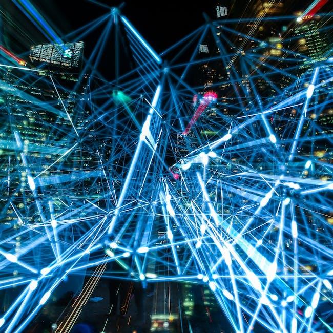 Abstrakcyjne przedstawienie bezpieczeństwa Internetu Rzeczy, sieć połączonych ze sobą laserów
