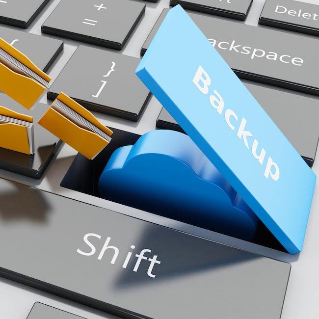 Klawisz na klawiaturze komputerowej z napisem backup