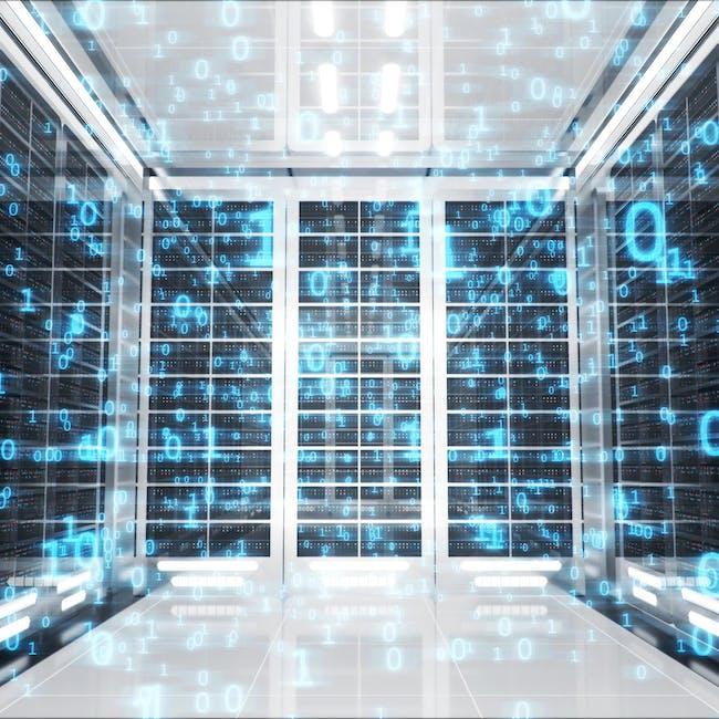 Abstrakcyjne przedstawienie integracji systemów IT z kodem binarnym w tle