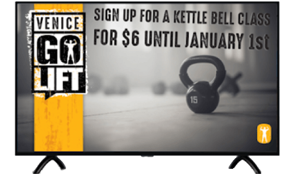 Gym-focused digital promotion on a television