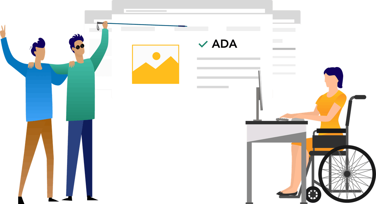 Illustration of men and women with ADA document in the background