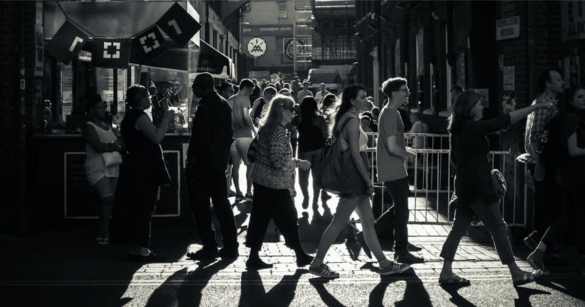 People walking in a busy city street