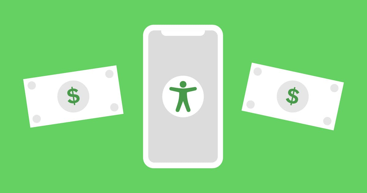 Illustration of a phone with an accessibility icon in the middle and two dollar bills on either side