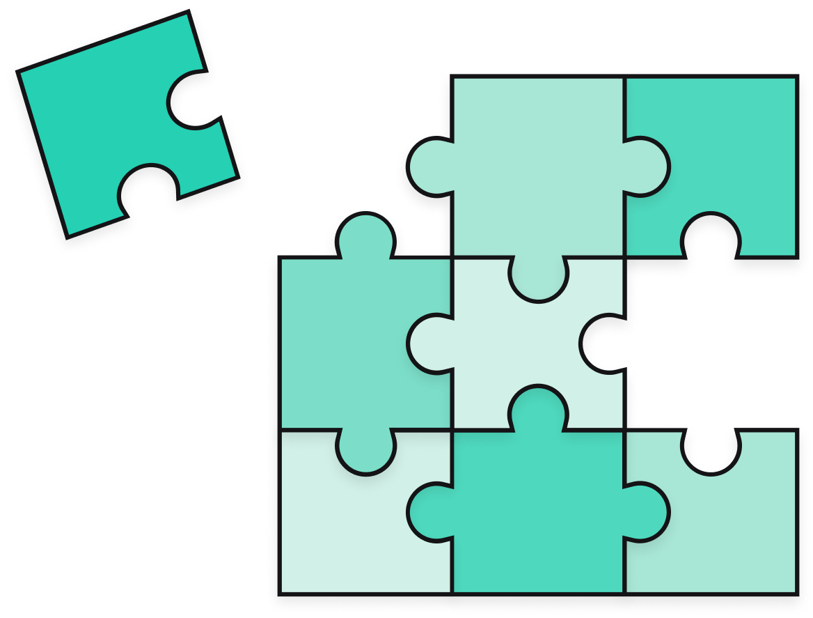 Illustration of green puzzle pieces