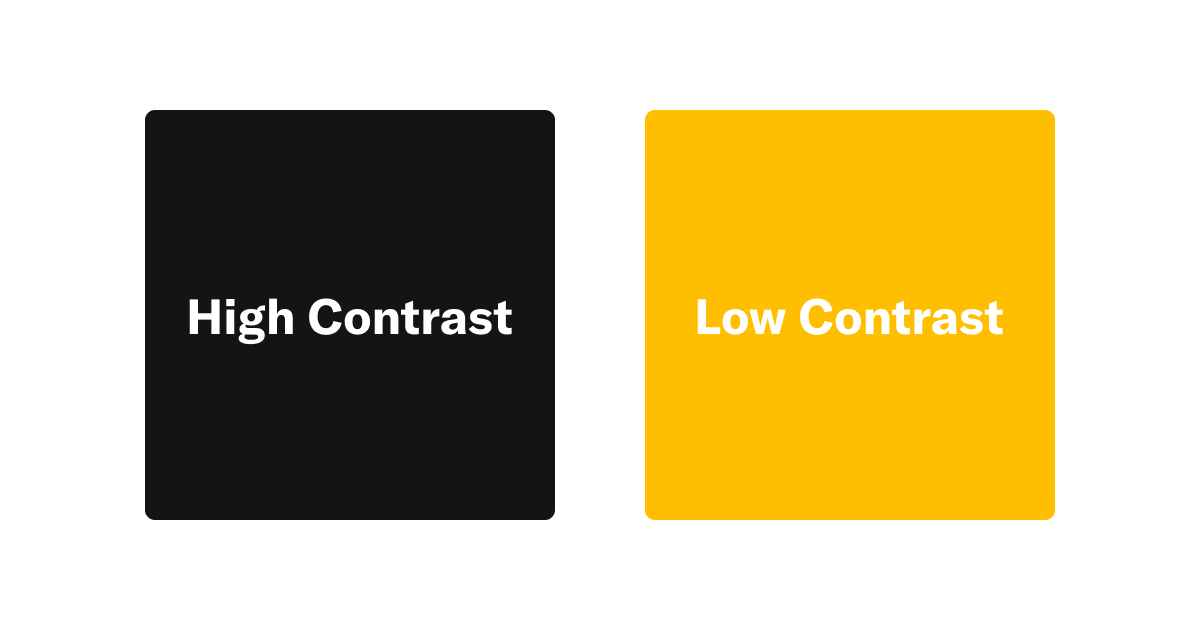 High Contrast spelled out on a black background and Low Contrast spelled out on a yellow background