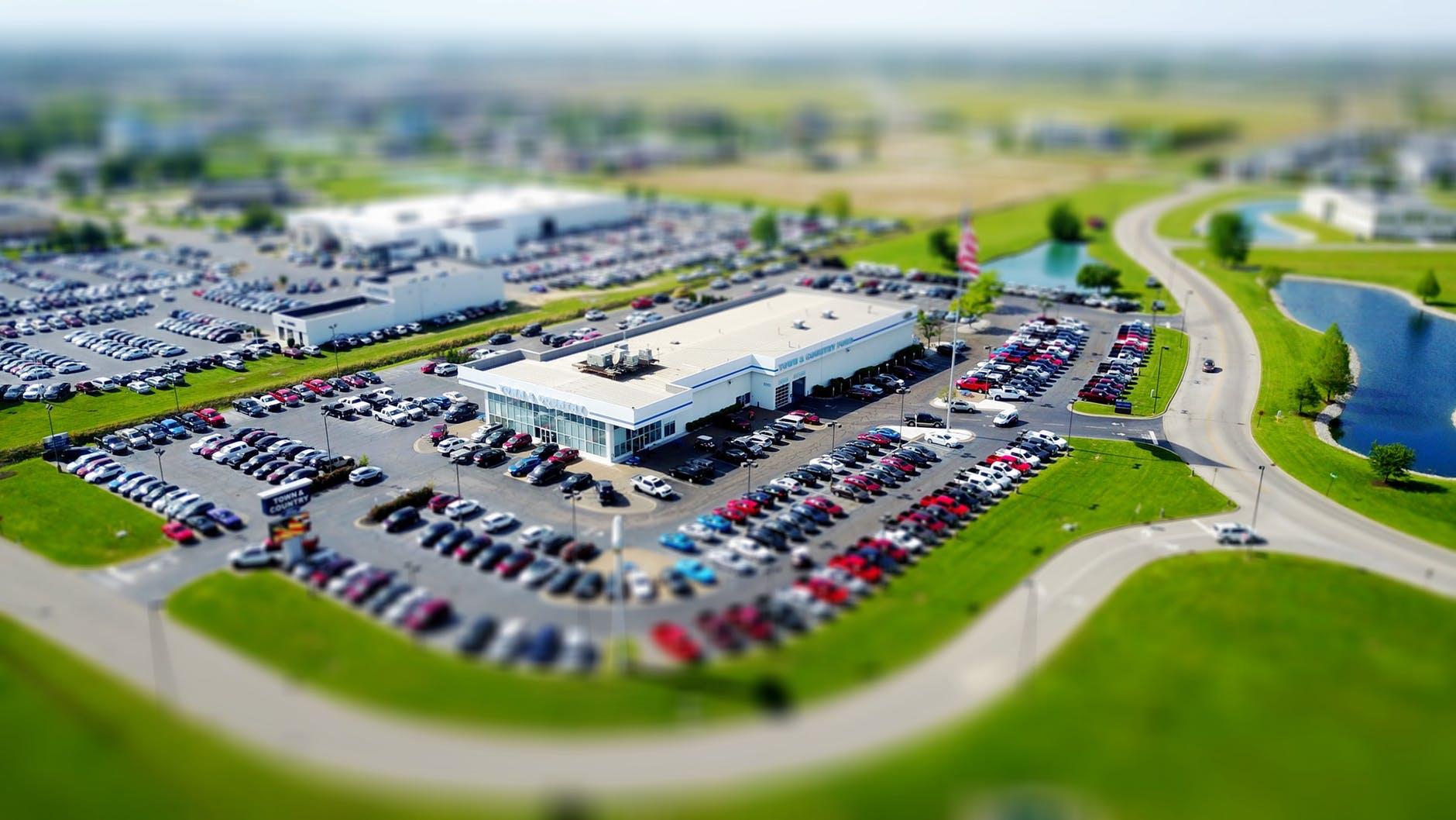 Car dealership lot using portrait filter