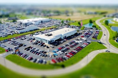 Aerial view of a car dealership