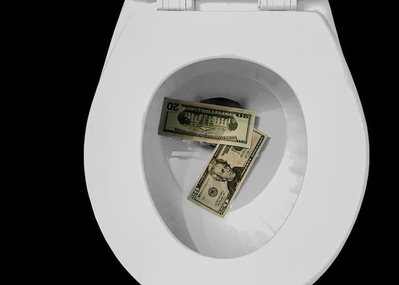 Two $20 bills in a toilet bowl